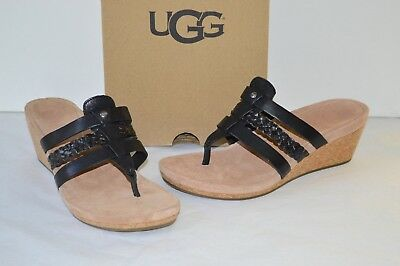 a24f24f6b54 NEW  80 UGG Annice Black Leather Thong Sandal Flip Flop Espadrille ...