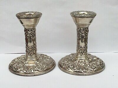 Excellent Pair Of Silver Candlesticks, Hallmarked For 1974 - 9.6cms