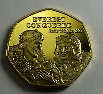 EVEREST CONQUERED 1953 NEWSPAPER Collectors Token/Medal 24ct Gold Hillary/Tenzig
