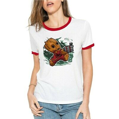 Funny Soldier Groot T-Shirts Women's Cotton Ringer Short Sleeve Casual Tee Tops