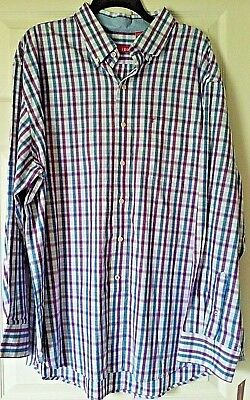 IZOD Men/'s Saltwater Long Sleeve Plaid Button Up NWT K4