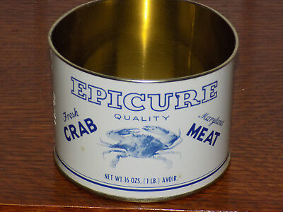 Epicure Brand Fresh Crab Meat 1 Pound Empty Tin No Top