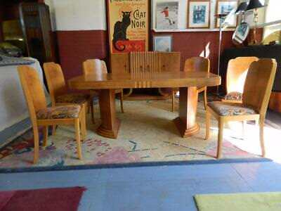Superb Epstein Birdseye Maple Dining Table and Chairs c 1925-35