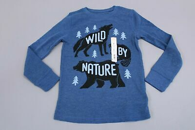 """Jumping Beans Boy's Long Sleeve """"Wild By Nature"""" Thermal Top CB4 Blue Size 8 NWT"""