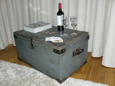 Antique GPO General Post Office Large Grey Trunk Storage Chest Box Coffee Table