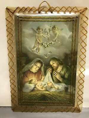 VTG Antique Mary Joseph baby Jesus Card Decoration Wall Hanging Angels