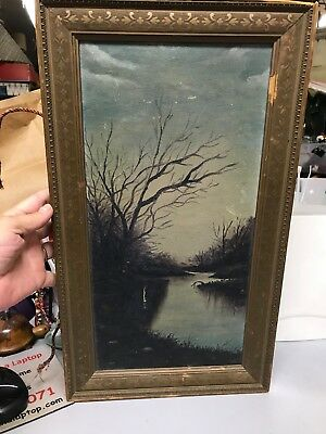 Vtg 0il PAINTING CANVAS~FRAMED SCENE ANTIQUE~SUBDUED RIVER FALL SCENE~1900