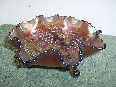 """Vintage Carnival Glass Purple 3 footed Candy Dish Bowl 8"""""""