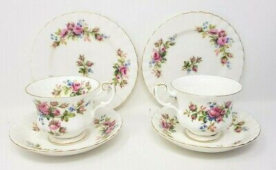 Royal Albert Moss Rose 2 x Trios Tea Cup Saucer Side Or Tea Plate First Quality.
