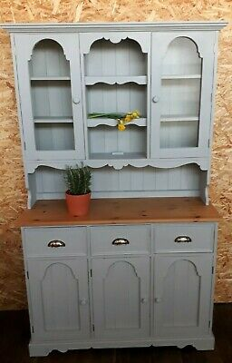 Painted Grey Shabby Chic Solid Pine Farmhouse Welsh Dresser Display Kitchen