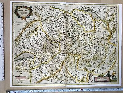 Historic Old Antique vintage Blaeu Map Switzerland, Europe 1634 1600's: REPRINT