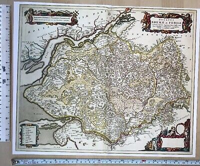 Historic Old Antique vintage Blaeu Map North West Germany 1662 1600's: REPRINT