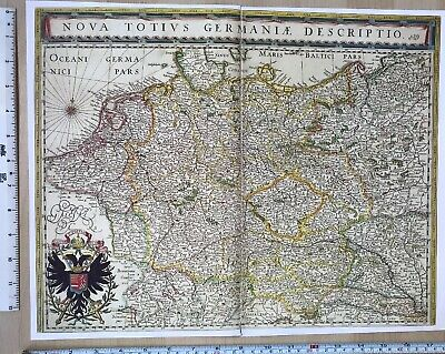 Historic Old Antique vintage Blaeu Map of German Empire 1630's 1600's: REPRINT