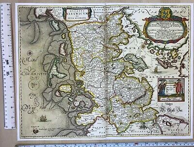 Historic Old Antique vintage Blaeu Map of South Denmark 1652 1600's: REPRINT