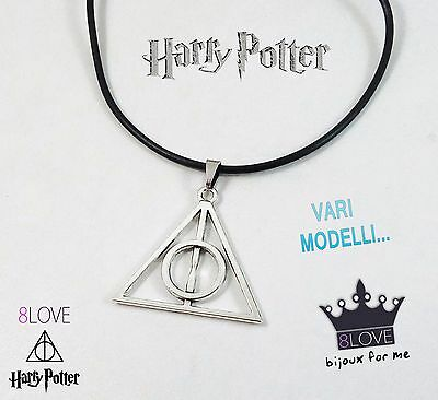 Collana HARRY POTTER e i doni della morte Caucciù Nero Ciondolo Deathly Hallows