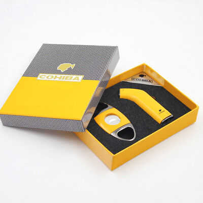 COHIBA Yellow Metal Cigar Lighter Cutter Set 2 Torch Jet Flame Lighter W/ Punch