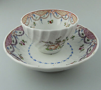 New Hall type Antique English Porcelain hand painted Tea Bowl & Saucer C.18thC