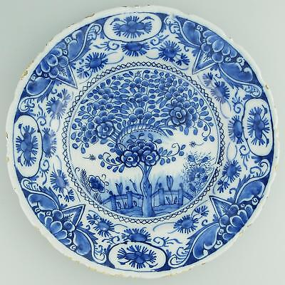 Antique Dutch Delft European Pottery rare & Fine Tea Plant Plate C. Mid 18thC