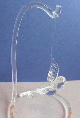 """Hanging clear glass soaring flying 3.5"""" Bird ornament with 6"""" acrylic stand"""