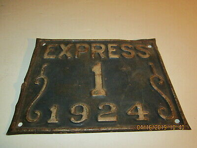 Express 1 1924 Plate Tin License Plate or Wall Decor Nice Estate Find Lot #BP15
