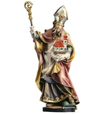 Statue Wholesale st Anselmo cm 20 Carved Wooden of Valgardena Hand Decorated
