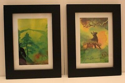 (2) Fly From Here Watercolor Sketchbook, Roger Dean, Matted & Framed prints