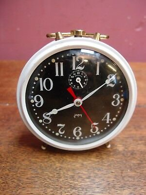 VINTAGE 1960s FRENCH ALARM CLOCK by JAPY WHITE PAINTED CASE BLACK FACE WORKING