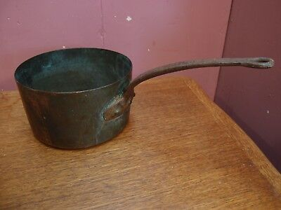 Large Antique French Heavy Copper Saucepan