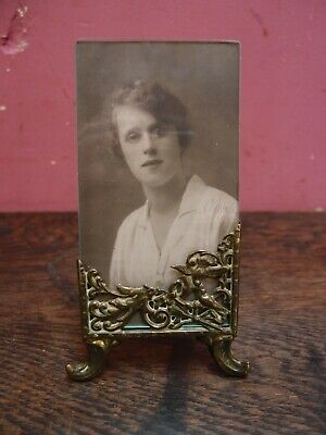 Small Antique French Brass & Glass Easel Photograph Frame