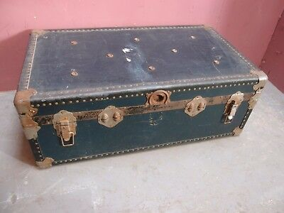 Large Antique Old Fashioned Blue Cabin Trunk
