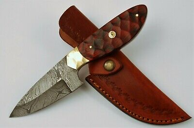 Damascus Skinner Full Tang Hunting Knife with Wood Handle & Leather Sheath