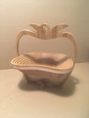 Vintage Wooden Apple Shaped (Collapsible) Fruit Bowl.