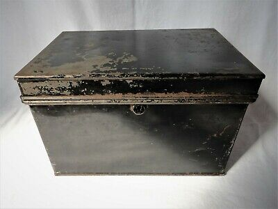 Lovely Vintage Black Metal W&s Storage / Deed / Document Box - No Key