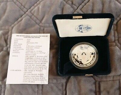 2000-P US Mint Silver American Eagle 1 oz $1 PROOF Coin with COA