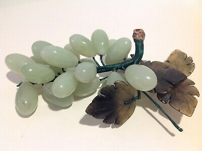 Vintage Chinese Jade stone alabaster green grape cluster bunch, grapes on a vine