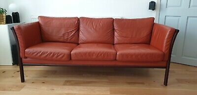 Danish Mid Century Brick Red Leather 3 seat sofa - Stouby Polster Møbelfabrik