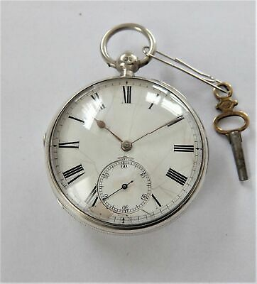 1882 Silver Cased English Lever Pocket Watch In Working Order