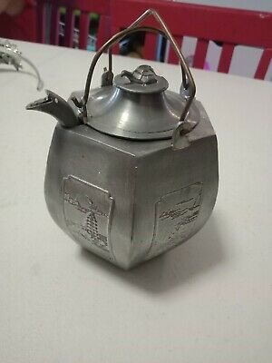 Vintage Pewter Chinese Antique Teapot Warmer Turtle ex condition