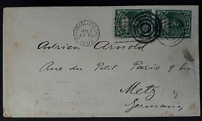 VERY RARE 1894 Hawaii Cover ties 2 x 1c stamps Provisonal Govt O/P to Germany