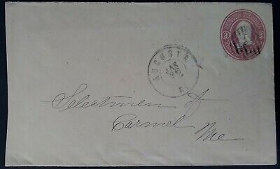 RARE 1850-60s United States Cover with 3c red pre-printed stamp canc Augusta