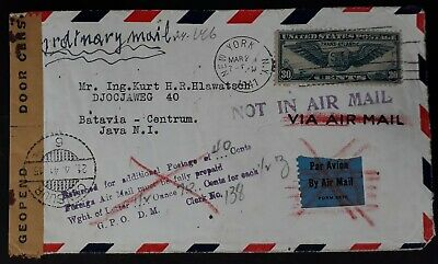 RARE 1941 United States Censor Airmail Cover ties 30c stamp canc NYC underpaid
