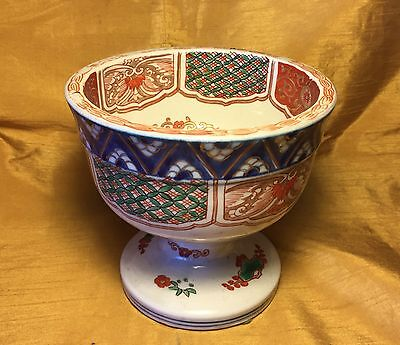 Antique Japanese Porcelain Painted Imari Compote Footed Bowl: Phoenix Bird Scene