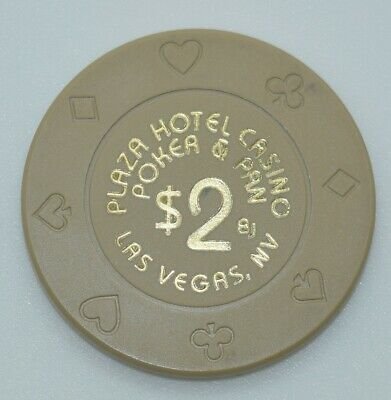 Plaza Hotel $2 Casino Chip Las Vegas Nevada 8-Suits BJones 1999