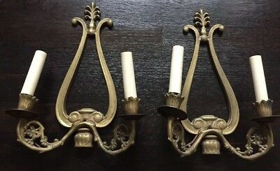 Antique Pair Brass DOUBLE SCONCES LYRE Shape Flowers Electrified French Style