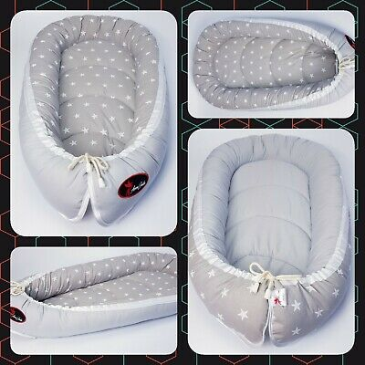 BABY NEST POD COCOON normal size 0-6 m HIGH QUALITY white stars on grey