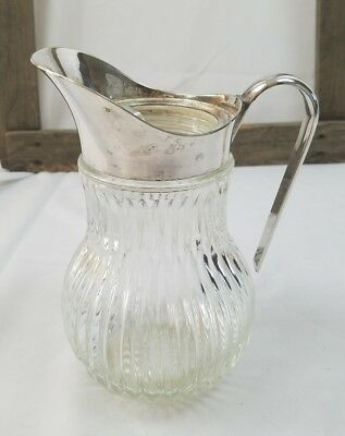 Vintage retro ribbed crystal glass silver plated pitcher ice lip Italy bar wear
