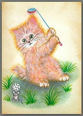 ACEO acrylic painting  -  cat kitten kitty mouse mice golf