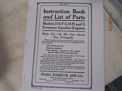 1926 Economy Sears Gas Engine all Models Instruction & Parts Manual
