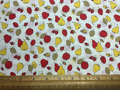 Vintage Cotton Fabric 40s50s CUTE Lil Apples Cherries Pears NOVELTY 36w 1yd