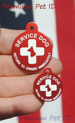 Personalized / Customized engraved SERVICE DOG ID TAG -  Large or Small - USA